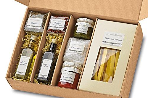 Geschenkkorb Cucina Italiana Geschenk-Set Italien Präsentkorb mit Pasta Pesto Olivenöl Bruschetta...