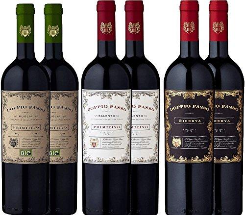 6er Probierpaket - Doppio Passo Primitivo Salento | Riserva | Bio - italienischer Rotwein aus...