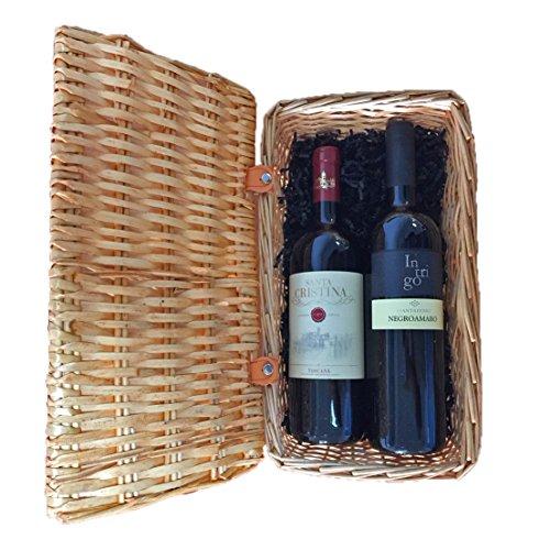 Gourmetkorb Italienische Rotweine mit 1x Santa Cristina Antinori Merlot und 1x Negroamaro Intrigo in...