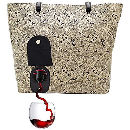 PortoVino Weinhandtasche (Paisley) - Modisch mit verstecktem, isoliertem Fach für 2 Flaschen Wein...